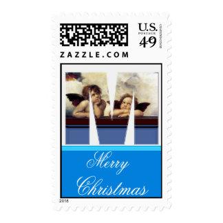 RENAISSANCE ANGEL M LETTER Winged Cherub Monogram Stamp