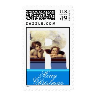 RENAISSANCE ANGEL R LETTER Winged Cherub Monogram Postage Stamp