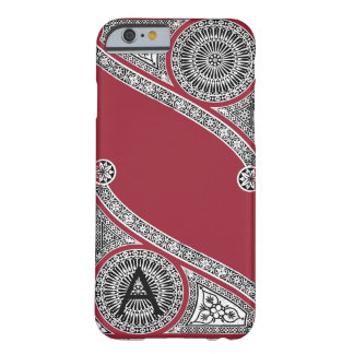 RENAISSANCE ARCHITECT Marsala Red Monogram Barely There iPhone 6 Case