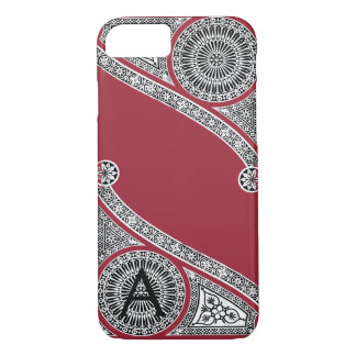 RENAISSANCE ARCHITECT Marsala Red Monogram iPhone 8/7 Case