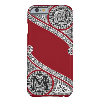 RENAISSANCE ARCHITECT Red Burgundy Monogram Barely There iPhone 6 Case