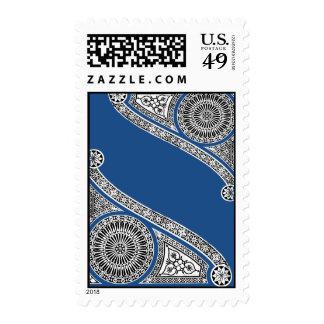 Renaissance Architecture / Blue White Ornamental Postage