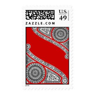 Renaissance Architecture / Red White Ornamental Postage