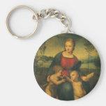 Renaissance Art, Madonna of the Goldfinch, Raphael Basic Round Button Keychain