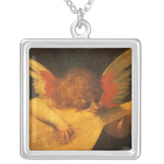 Renaissance Art Musician Angel by Rosso Fiorentino Silver Plated Necklace