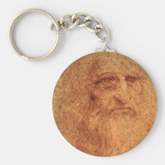 Renaissance Art Self Portrait by Leonardo da Vinci Basic Round Button Keychain
