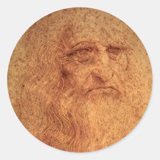 Renaissance Art Self Portrait by Leonardo da Vinci Classic Round Sticker