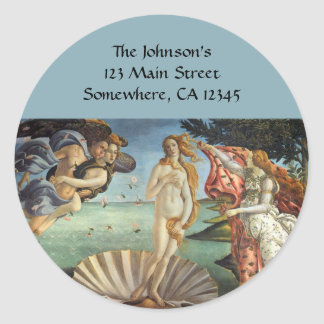 Renaissance Art, The Birth of Venus by Botticelli Classic Round Sticker