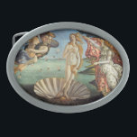 "Renaissance Art, The Birth of Venus by Botticelli Oval Belt Buckle<br><div class=""desc"">The Birth of Venus (c. 1482-1486) by Sandro Botticelli (1444-1510) is a vintage Renaissance Era fine art mythological painting. The goddess Venus has emerged from the sea as a full grown woman and is standing inside a large seashell on the seashore.</div>"