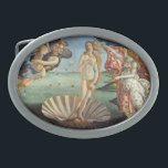 """Renaissance Art, The Birth of Venus by Botticelli Oval Belt Buckle<br><div class=""""desc"""">The Birth of Venus (c. 1482-1486) by Sandro Botticelli (1444-1510) is a vintage Renaissance Era fine art mythological painting. The goddess Venus has emerged from the sea as a full grown woman and is standing inside a large seashell on the seashore.</div>"""