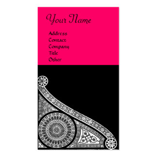 RENAISSANCE Black and White pink fuchsia Double-Sided Standard Business Cards (Pack Of 100)