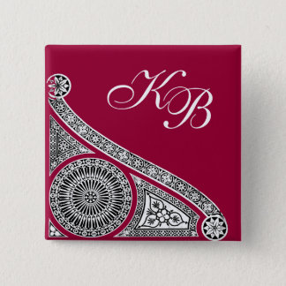 RENAISSANCE Black White Architectural Monogram Pinback Button