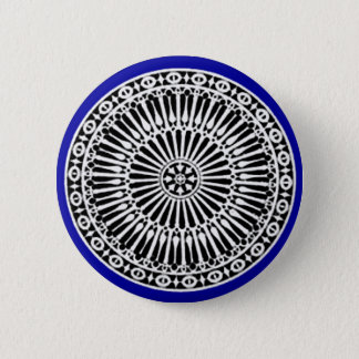 RENAISSANCE Black White Blue Architectural Decor Pinback Button