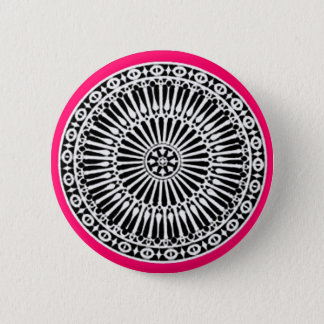 RENAISSANCE Black White Pink Architectural Decor Pinback Button