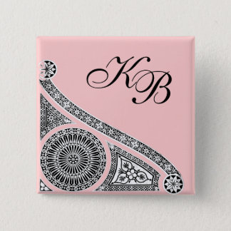 RENAISSANCE Black White Pink Architecture Monogram Button
