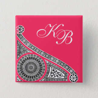 RENAISSANCE Black White Pink Architecture Monogram Pinback Button