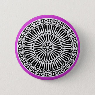 RENAISSANCE Black White Purple Architectural Decor Pinback Button