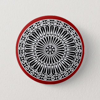 RENAISSANCE Black White Red Architectural Decor Button