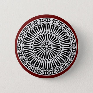 RENAISSANCE Black White Red Architectural Decor Pinback Button