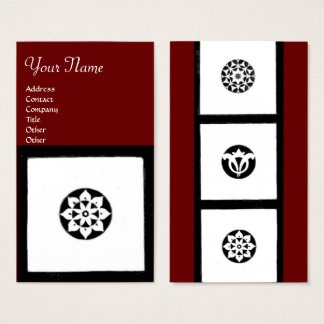 RENAISSANCE Black White Red Geometric Floral Business Card