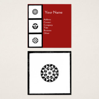RENAISSANCE Black White Red Geometric Floral Square Business Card