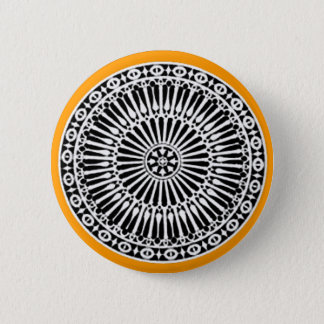 RENAISSANCE Black White Yellow Architectural Decor Button