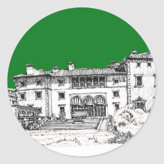 Renaissance building green classic round sticker