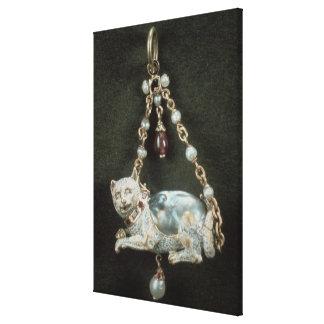 Renaissance cat pendant canvas print