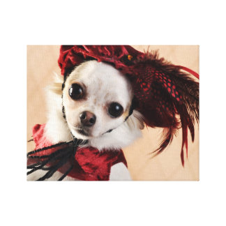 Renaissance Chihuahua in Red Velvet Canvas Print