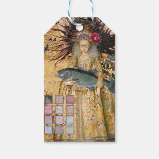 Renaissance fishing Gothic Whimsical Pisces Woman Gift Tags