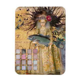 Renaissance fishing Gothic Whimsical Pisces Woman Magnet