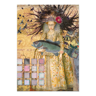 Renaissance fishing Gothic Whimsical Pisces Woman Magnetic Card