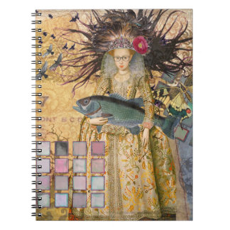 Renaissance fishing Gothic Whimsical Pisces Woman Notebook