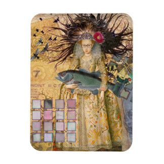 Renaissance fishing Gothic Whimsical Pisces Woman Rectangular Photo Magnet