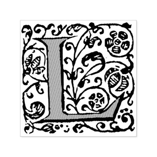 Renaissance floral flourish letter l monogram self inking for Self inking letter stamps