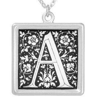 Renaissance Flower Alphabet Letter A Necklace