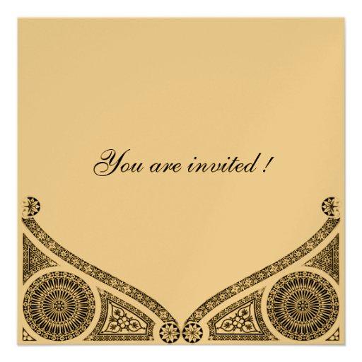 RENAISSANCE,gold metallic paper Invite
