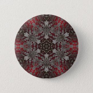 renaissance gothic metallic red and black mandala pinback button