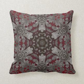 renaissance gothic metallic red and black mandala throw pillow