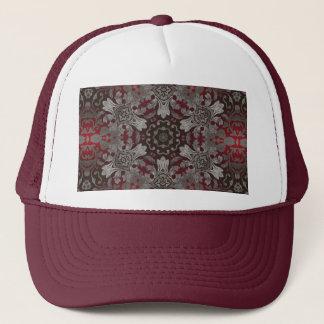 renaissance gothic metallic red and black mandala trucker hat