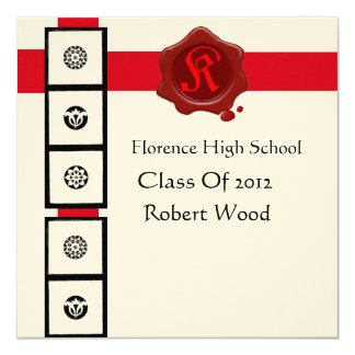 RENAISSANCE GRADUATION Red Wax Seal  Monogram Card