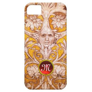 RENAISSANCE GROTESQUE FACE , GOLD FLORAL MONOGRAM iPhone 5 CASES