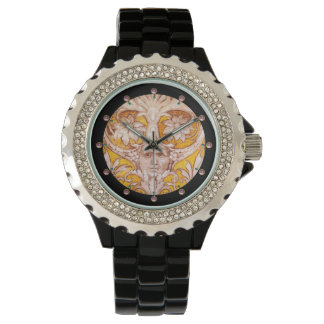 RENAISSANCE GROTESQUE FACE WITH GOLD WHITE FLORAL WRIST WATCH