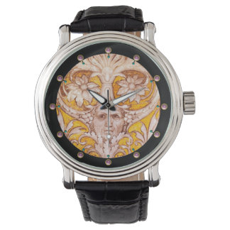 RENAISSANCE GROTESQUE FACE WITH GOLD WHITE FLORAL WRISTWATCH