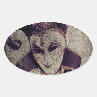 Renaissance Joker on Stone Oval Sticker