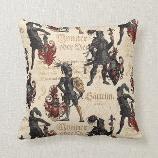 Renaissance Knights in Armor Elegant Antique Throw Pillow