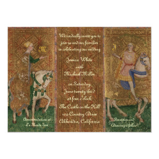 Renaissance Lady and Knight Wedding with Initials 5.5x7.5 Paper Invitation Card