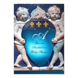 RENAISSANCE LITTLE ANGELS BLUE SAPPHIRE MONOGRAM 5X7 PAPER INVITATION CARD