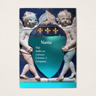 RENAISSANCE LITTLE ANGELS MONOGRAM Blue Aquamarine Business Card