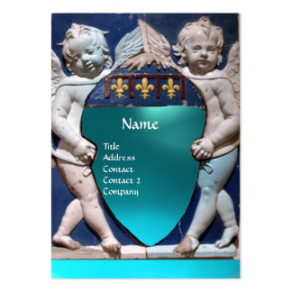 RENAISSANCE LITTLE ANGELS MONOGRAM Blue Aquamarine Business Card Templates